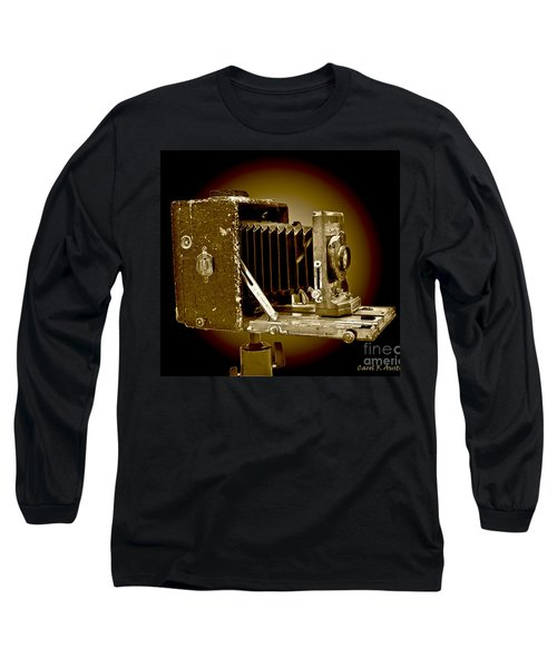 Vintage Camera In Sepia Tones Long Sleeve T-Shirt by Carol F Austin