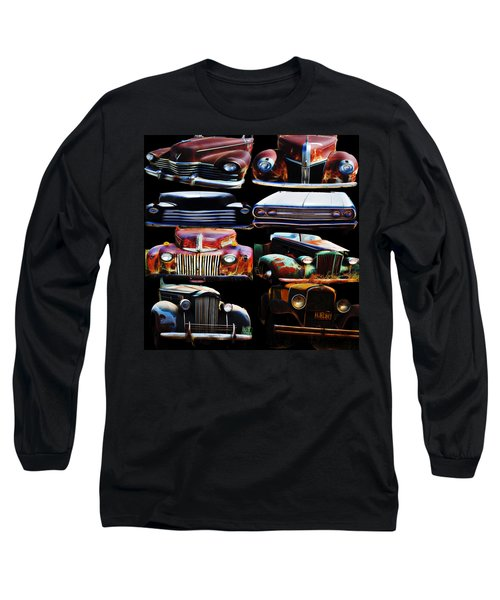 Vintage Cars Collage 2 Long Sleeve T-Shirt by Cathy Anderson