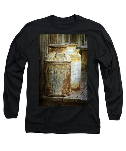 Vintage Creamery Cans In 1880 Town In South Dakota Long Sleeve T-Shirt
