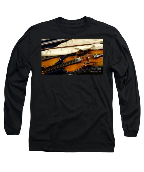 Vintage Fiddle In The Case Long Sleeve T-Shirt by Wilma  Birdwell