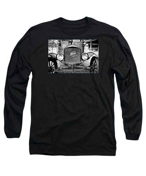 Vintage Ford In Black And White Long Sleeve T-Shirt