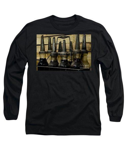 Vintage Glass  Motor Oil Bottles Long Sleeve T-Shirt by Wilma  Birdwell