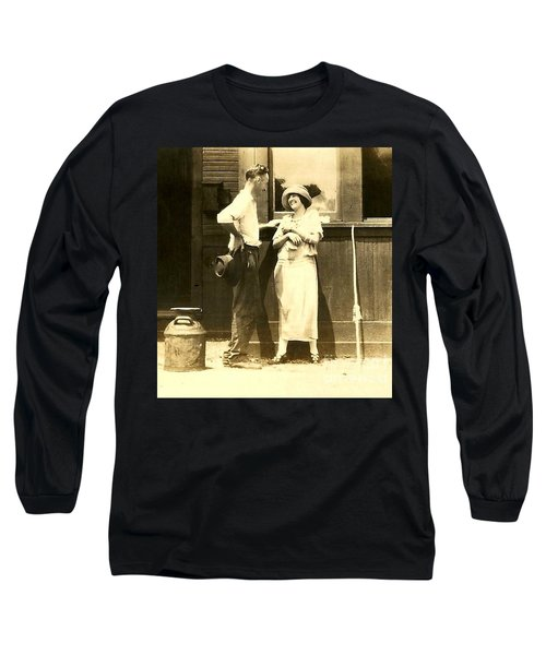 Long Sleeve T-Shirt featuring the photograph Vintage Love In Memory Of My Deceased Grandfather From Ireland I Never New by Michael Hoard