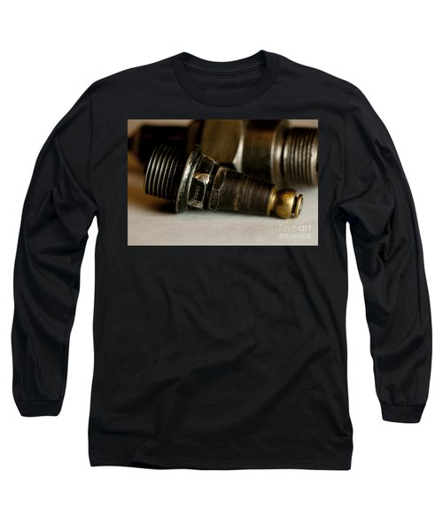 Vintage Motorcycle Spark Plugs Long Sleeve T-Shirt by Wilma  Birdwell
