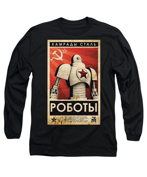 Vintage Russian Robot Poster Long Sleeve T-Shirt by R Muirhead Art