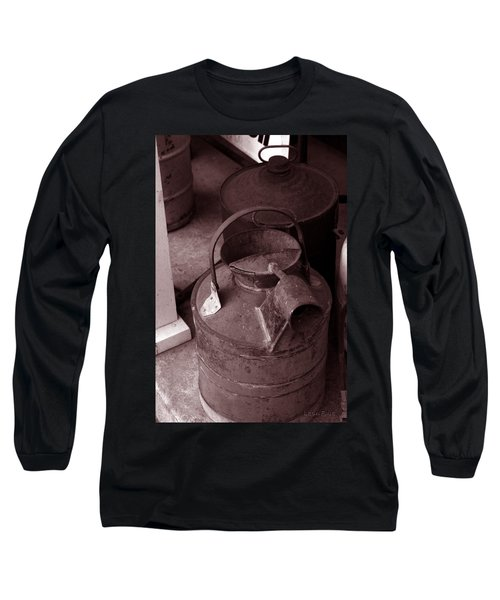 Long Sleeve T-Shirt featuring the photograph Vintage Sepia Galvanized Container by Lesa Fine