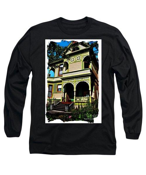 Vintage Victorian Home Watercolor Style Art Prints Long Sleeve T-Shirt by Valerie Garner