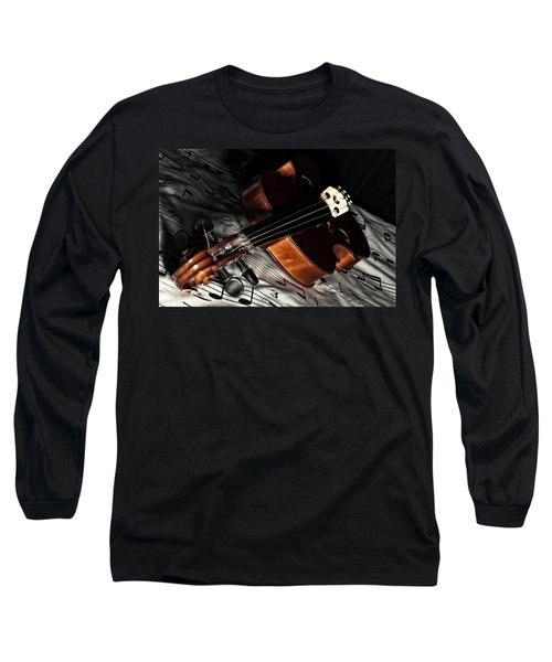 Vintage Violin Long Sleeve T-Shirt by Mike Santis