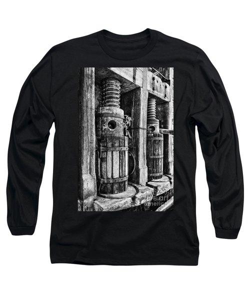 Vintage Wine Press Bw Long Sleeve T-Shirt