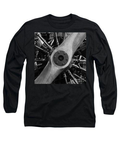 Vintage Wood Propeller - 7d15828 - Square - Black And White Long Sleeve T-Shirt