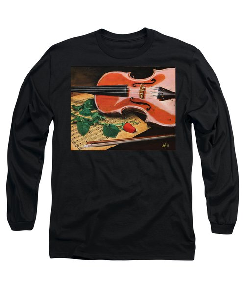 Violin And Rose Long Sleeve T-Shirt