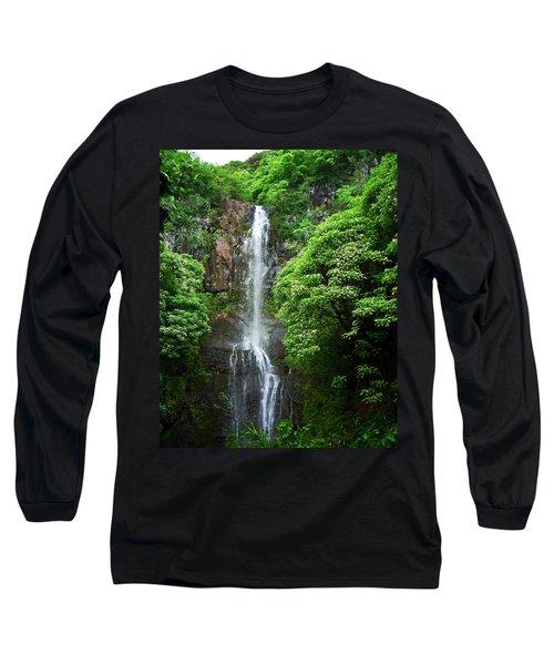 Long Sleeve T-Shirt featuring the photograph Waikani Falls At Wailua Maui Hawaii by Connie Fox