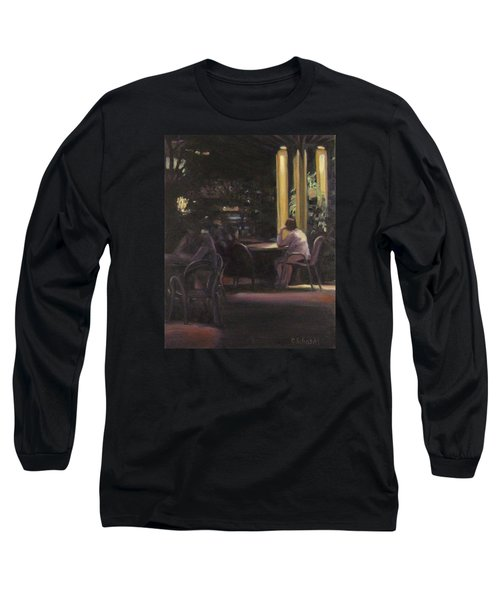 Waiting At The Night Cafe Long Sleeve T-Shirt by Connie Schaertl