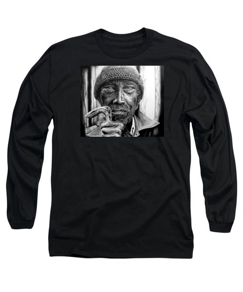 Long Sleeve T-Shirt featuring the drawing Man With Cane by Geni Gorani