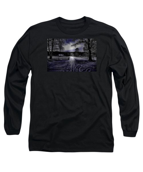 Long Sleeve T-Shirt featuring the photograph #walk-way In A Pinhole Presentation Over Dyarna A #winter #day Near City Enkoping Sweden January 201 by Leif Sohlman