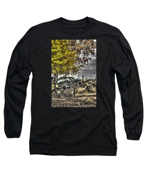 Long Sleeve T-Shirt featuring the photograph War Thunder - The Purcell Artillery Mc Graw's Battery-a2 West Confederate Ave Gettysburg by Michael Mazaika
