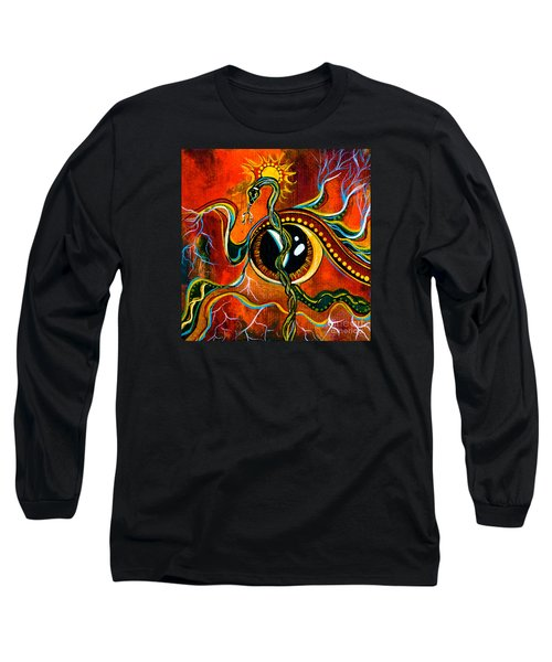 Long Sleeve T-Shirt featuring the painting Warrior Spirit Eye by Deborha Kerr