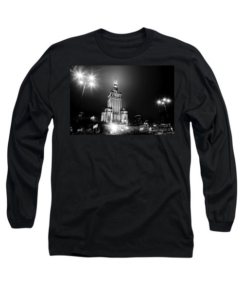 Warsaw Poland Downtown Skyline At Night Long Sleeve T-Shirt