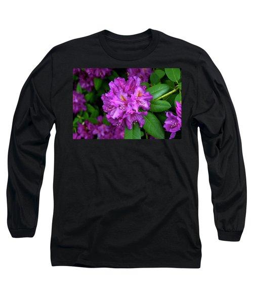 Washington Coastal Rhododendron Long Sleeve T-Shirt by Ed  Riche