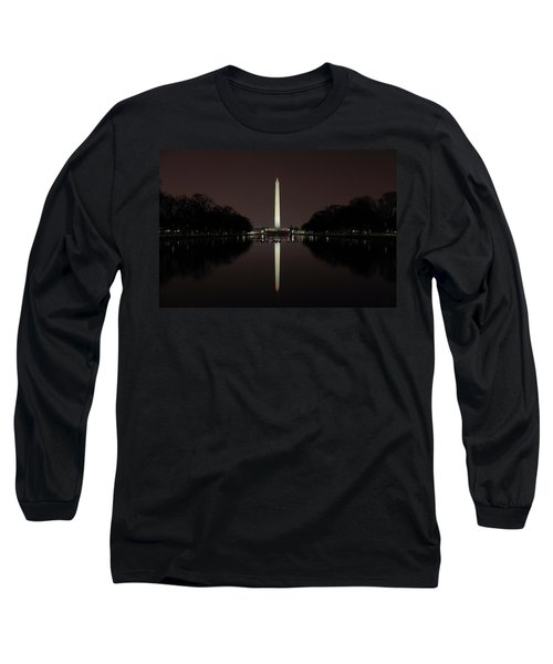 Washington Monument Reflections At Night Long Sleeve T-Shirt