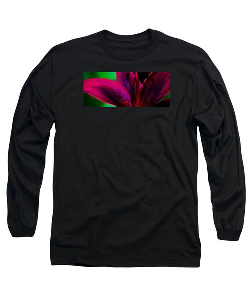 Water-drops On The Petal Long Sleeve T-Shirt by Shelby  Young
