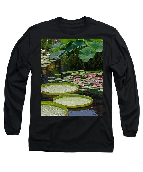 Long Sleeve T-Shirt featuring the photograph Water Lilies And Platters And Lotus Leaves by Byron Varvarigos