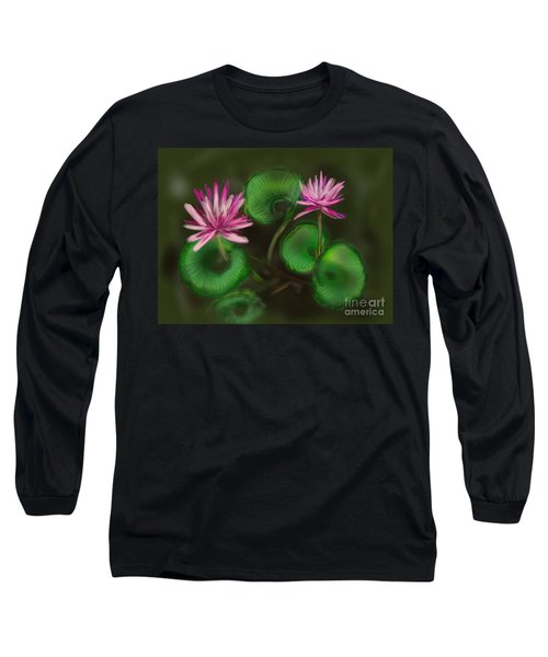 Long Sleeve T-Shirt featuring the digital art Water Lilies by Christine Fournier