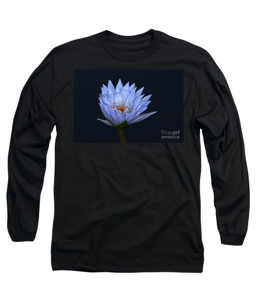Water Lily Shades Of Blue And Lavender Long Sleeve T-Shirt