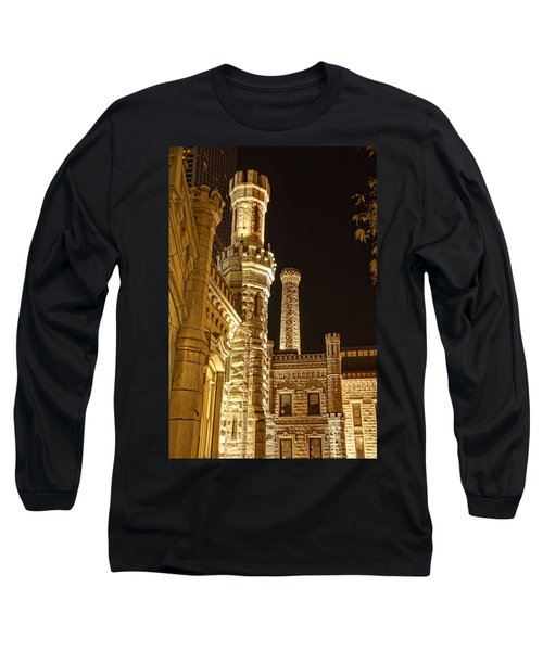 Water Tower At Night Long Sleeve T-Shirt by Daniel Sheldon