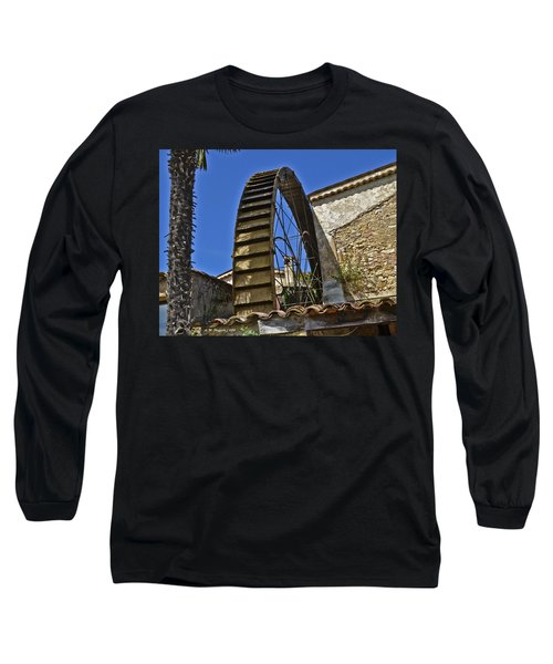 Long Sleeve T-Shirt featuring the photograph Water Wheel At Moulin A Huile Michel by Allen Sheffield