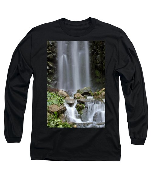 Long Sleeve T-Shirt featuring the photograph Waterfall In Singapore by Shoal Hollingsworth