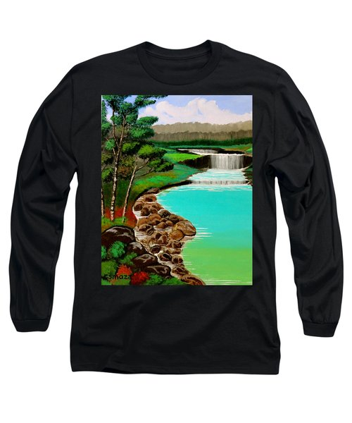 Long Sleeve T-Shirt featuring the painting Waterfalls by Cyril Maza