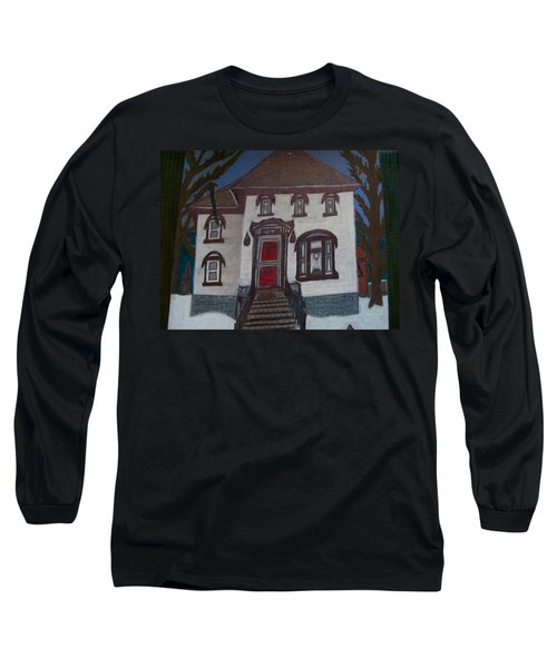 Long Sleeve T-Shirt featuring the drawing Historic 7th Street Home In Menominee by Jonathon Hansen
