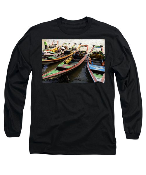 Watertaxis At The Yangon River Nan Thida Ferry Terminal Yangon Myanmar Long Sleeve T-Shirt