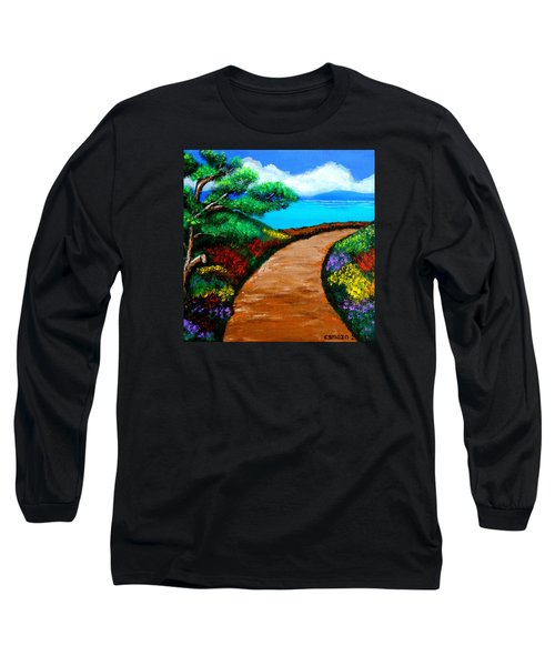 Way To The Sea Long Sleeve T-Shirt by Cyril Maza