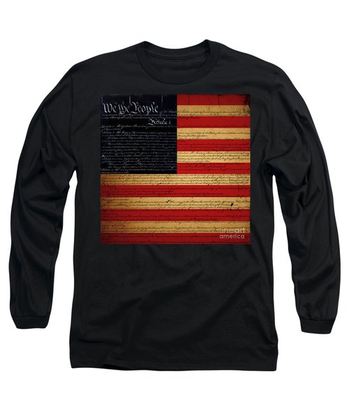 We The People - The Us Constitution With Flag - Square Long Sleeve T-Shirt