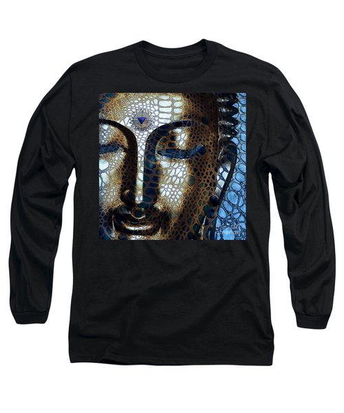 Web Of Dharma - Modern Blue Buddha Art Long Sleeve T-Shirt