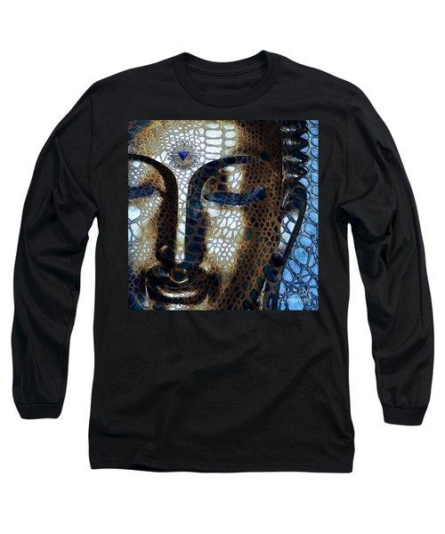 Web Of Dharma - Modern Blue Buddha Art Long Sleeve T-Shirt