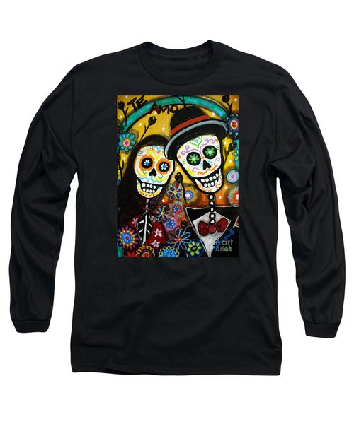 Long Sleeve T-Shirt featuring the painting Wedding Dia De Los Muertos by Pristine Cartera Turkus