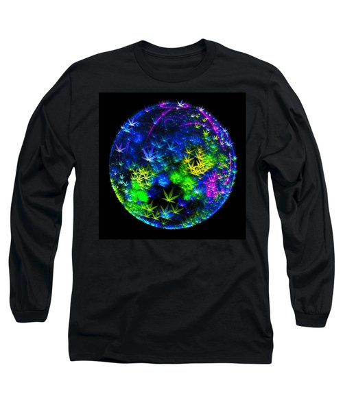 Weed Planet Full Of Cannabis Plants Long Sleeve T-Shirt