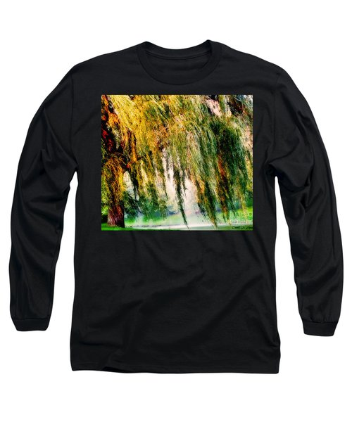 Weeping Willow Tree Painterly Monet Impressionist Dreams Long Sleeve T-Shirt by Carol F Austin