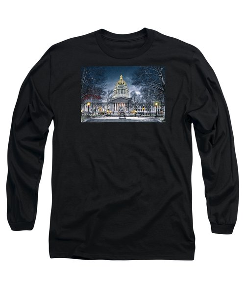 West Virginia State Capitol Long Sleeve T-Shirt by Mary Almond