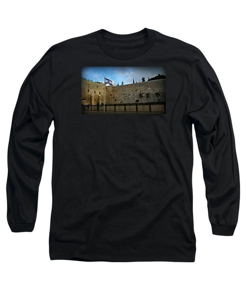 Western Wall And Israeli Flag Long Sleeve T-Shirt by Stephen Stookey