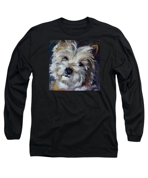 Long Sleeve T-Shirt featuring the painting Westie Mix by Pattie Wall