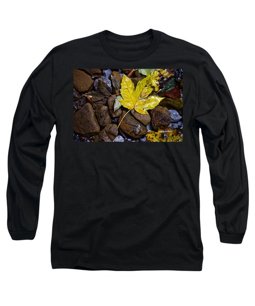 Wet Autumn Leaf On Stones Long Sleeve T-Shirt