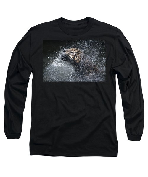 Long Sleeve T-Shirt featuring the pyrography Wet Jaguar  by Shoal Hollingsworth
