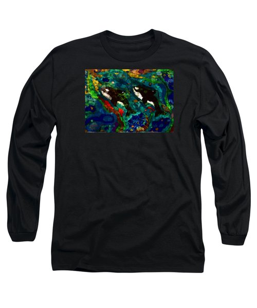 Whales At Sea - Orcas - Abstract Ink Painting Long Sleeve T-Shirt