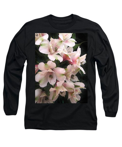 Long Sleeve T-Shirt featuring the photograph White And Pink Peruvian Lilies by Diane Alexander