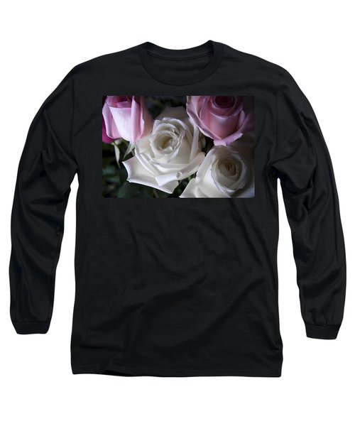 White And Pink Roses Long Sleeve T-Shirt