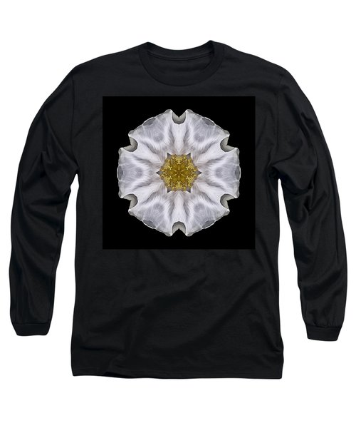 White Beach Rose I Flower Mandala Long Sleeve T-Shirt